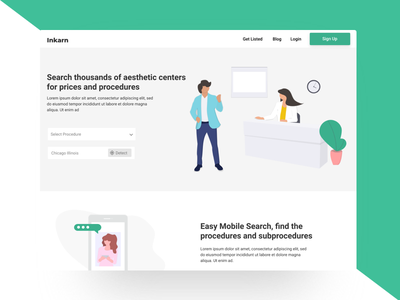 Inkarn Landing Page button artificial intelligence doctor ux typography art app illustration landing page ui