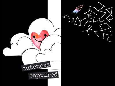 Heart matters - 2 pink black  white black digital collage