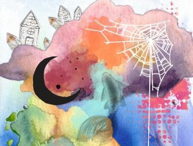 spiderquest2 moon blue pink black digital collage