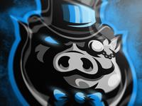 Pig cavalier mascot logo