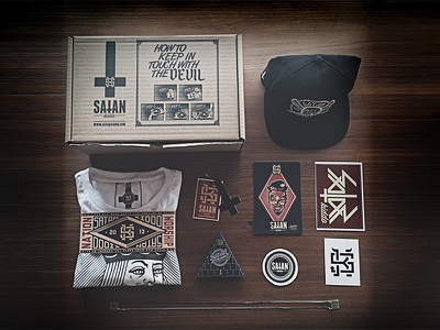 Satan Kiddo Stuff essentials satan kiddo devil monogram illustration branding box playing card scapullar