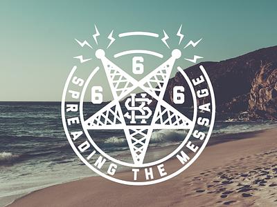 Spreading the message satan kiddo design logo stamp merch vector illustration tower message radio