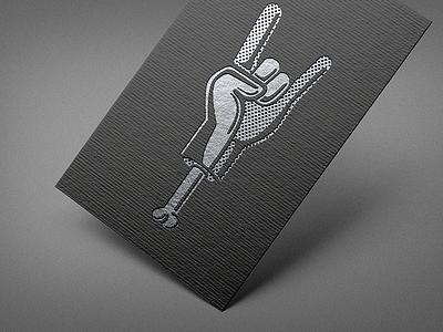 Horns Up illustration silver mockup texture card logo heavy metal roll rock