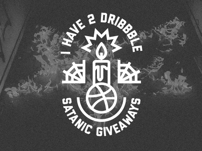 2 Dribbble invites for giveaway draft kiddo logo satan satanic giveaway invite dribbble