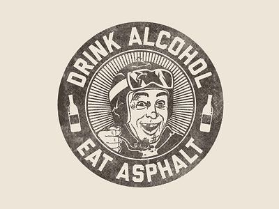 D.A.E.A. illustrator vector seal logo driving alcohol beer motorcycle