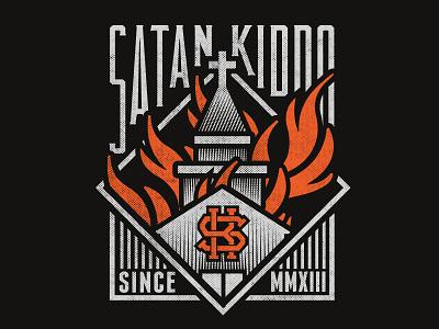 Burning Church - Satan Kiddo clothing branding anti christ satanic satanism devil logo fire burning church satan kiddo