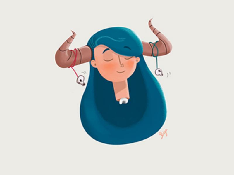 'Alla' the queen of horns character queen girl illustration