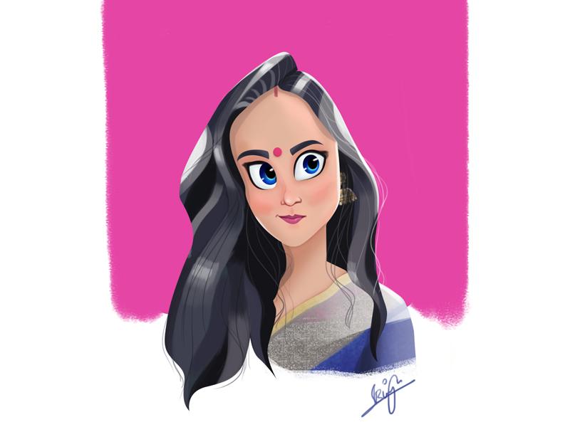 Stylized Character photoshop caricature dribbble characterdesing art adobe 2d illustration girl