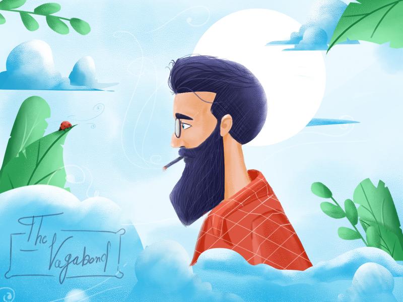 The Vagabond happy people people illustration man characterdesing 2d wacom tablet adobe art character travel illustration