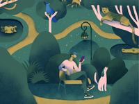 Illustration for Ginger phone app ui bird exotic phone dog animals park drawing nature illustration
