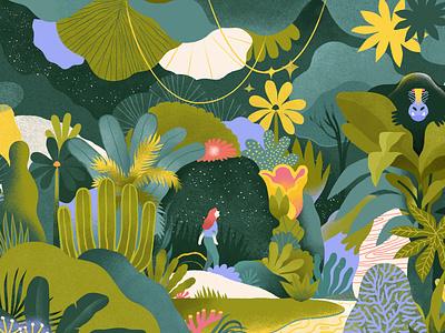 illustration for miro mind mystery fantasy flower space universe psychology monkey palm plants girl jungle