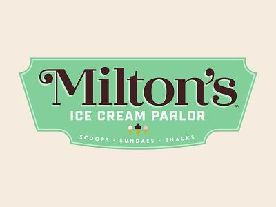 Milton's Ice Cream Parlor visual identity hershey vintage restaurant ice cream pattern brand pattern logo branding brand design graphic design