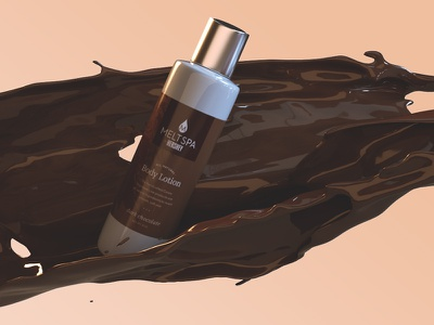 MeltSpa by Hershey Product Packaging adobe dimension body lotion dark chocolate chocolate spa bottle product packaging