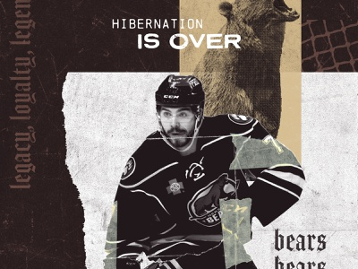 2018-19 Hershey Bears Campaign Visual Concept grunge athletic athlete hershey bears player hockey player shredded collage torn blackletter texture ripped sports hockey bears