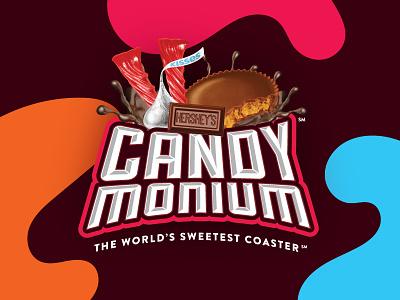 Candymonium Logo mark lockup pennsylvania hershey branding sweet design ride coaster roller coaster amusement park hersheypark chocolate chocolatetown candymonium candy logo design logo