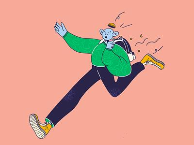 Hurry up, dude! procreate flat boy design illustration character