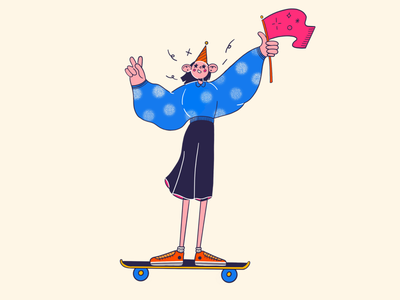Welcome to Team girl procreate flat design illustration character