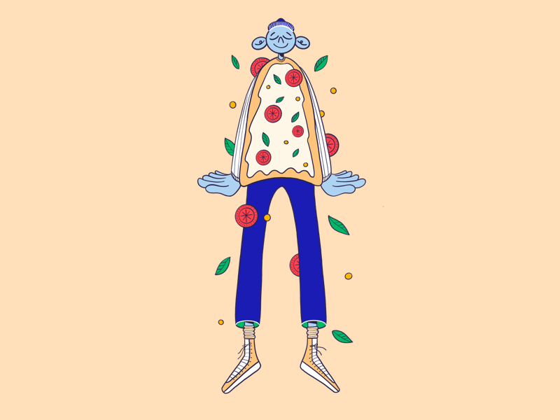 Pizza time flat design boy procreate illustration character