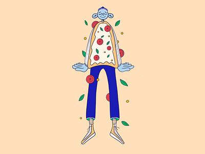 Pizza time flat design boy procreate illustration character