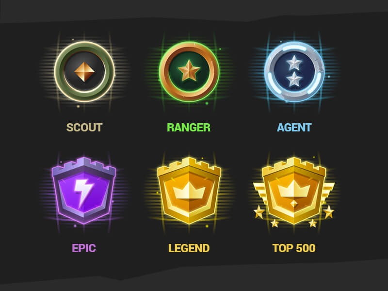 Fortnite Tracker Ranks legend epic agent ranger scout illustration rating badge rank gaming game fortnite