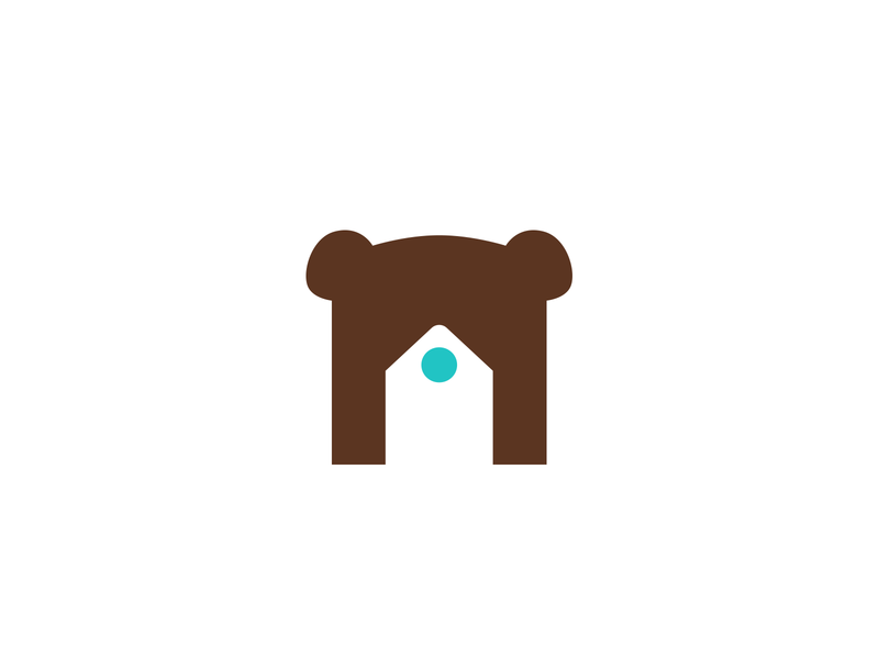 Bear house unused branding brand logotype logo wild animal estate real realtor apartment house sale rent brown blue round window bear