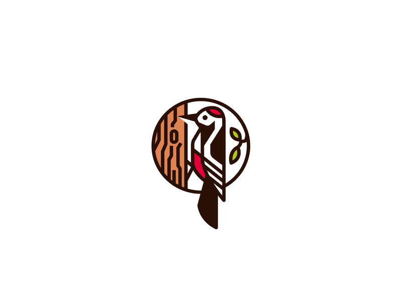 Woodpecker sale unused branding brand logotype logo wood leaf leaves profile woodworking carpenter forest tree bird woodpecker decorative stylization
