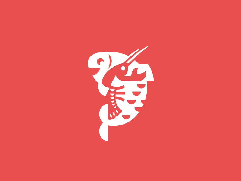 Fish And Cancer unused flat logotype brand branding logo cute cuddle sale company business delivery cafe seafood cuisine restaurant food arthropod characte cancer