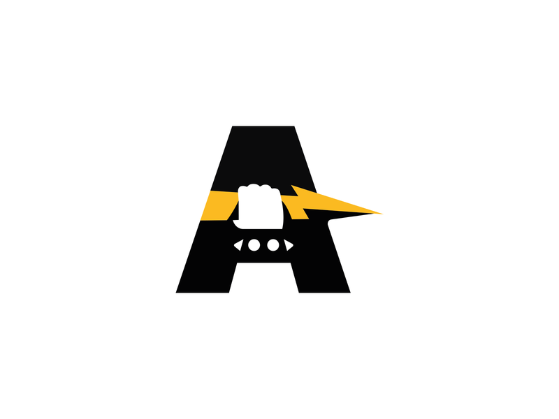 A,Hand And Lightning unused sale logotype branging brand logo minimalism letter typography rivets bracelet zeus discharge electricity lightning hand