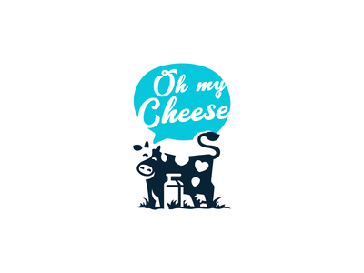 Cow cheese branding logotype logo ranch farm store food space negative funny cute character milk can cow