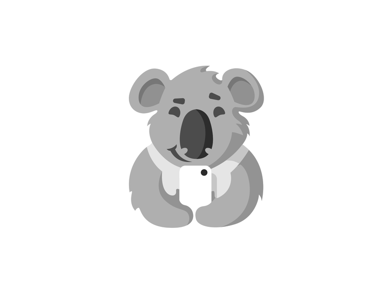 Koala And Smartphone branding logotype logo character cartoon mascot fluffy cute wild animal gadget device phone smartphone koala