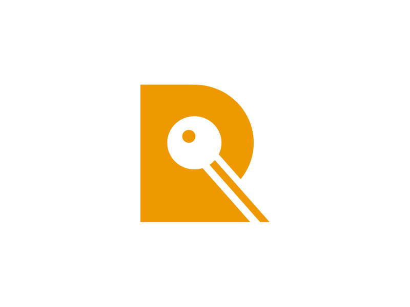 R And Key brandning logotype logo agency rental sale realtor estate real minimalism key letter