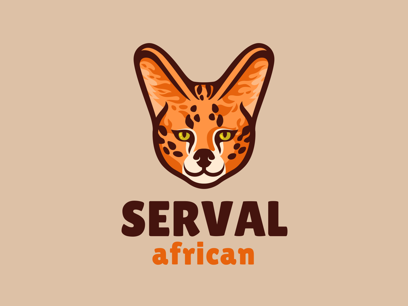 Serval brand branding logo cute cartoon mascot character wool fluffy exotic africa predator wild cat