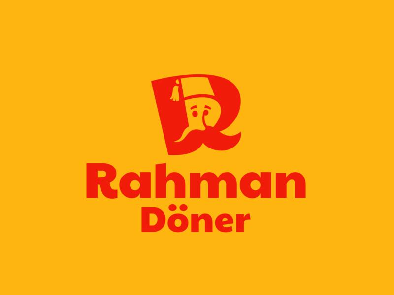 Kebab logo minimalism r letter mascot tasty brand logotype logo cook mustache turkish food fastfood doner kebab