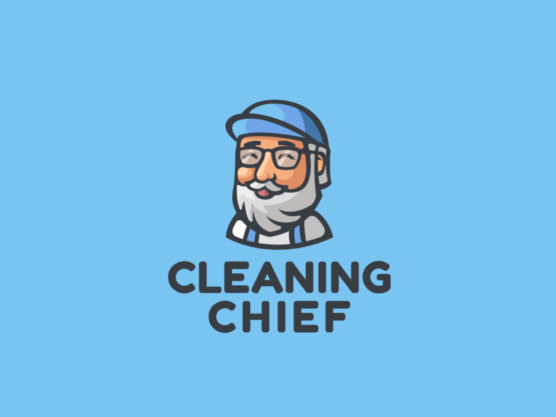 Cleaning company happy smile cap modern old glasses character mascot beard branding brand logotype logo clean cleaning