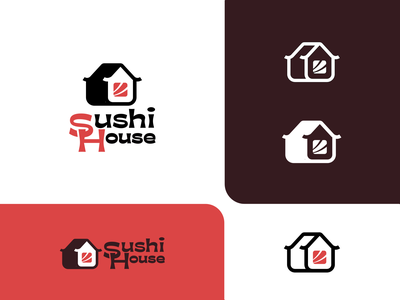 Sushi house red nori rice fish salmon minimalism branding brand house logotype logo restaurant cafe cooking delivery asian japan food roll sushi
