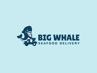 Big whale navy blue retro moped branding brand logotype logo food sushi seafood courier delivery wear suit fancy kigurumi whale