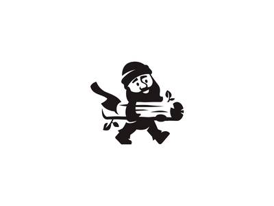 Woodcutter branding brand logotype logo negativespace black furniture person carpenter master sawmill forest mascot character
