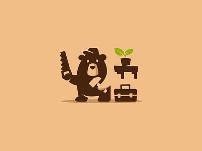 Bear Repairman sale cute box smart modern saw hammer branding brand logotype logo negativespace mascot character cartoon foreman repairman bear