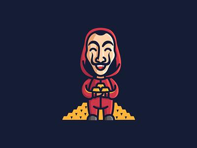 La casa de papel spanish spain tv serial gold tribute art illustration branding brand logotype logo mask character cartoon mascot netflix dali savador lacasadepapel
