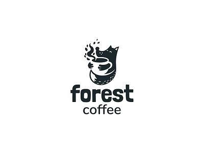 Fox and coffee hot tea negativespace cup drink wild animal cafe coffee fox cartoon unused cute sale mascot character brand branding logotype logo