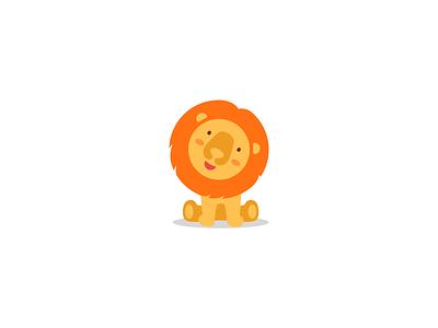 Cute lion wild simlpe falt modern toy baby funny nice cartoon animal cute sale mascot character brand branding logotype logo
