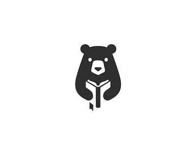 Reading bear negativespace mark animal cartoon modern cute mascot sale character brand branding logotype logo