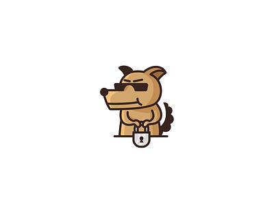 Guard dog padlock lock modern guard security dog design animal cartoon mascot character brand branding logotype logo