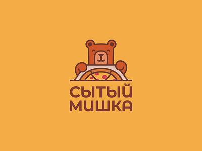 Well fed bear wild cooking creative elegant design modern nice cartoon bear funny cute food delivery pizza mascot character brand branding logotype logo