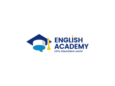 English Academy pupil student lesson speak hat talk graduate tutor teacher academy education english creative elegant simple modern brand branding logotype logo