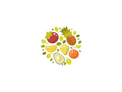 Vegan set unused design sale brand branding logotype logo flat vegetables fruits fruit orange avocado mango ananas