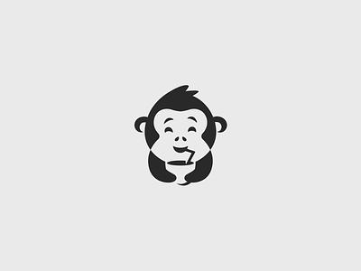Monkey and coconut juice dring negativespace space negative coconut ape monkey mascot unused illustration design character sale brand branding logotype logo