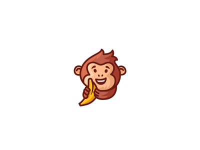 Cute monkey illustration cartoon banana ape monkaey mascot design modern character sale brand branding logotype logo