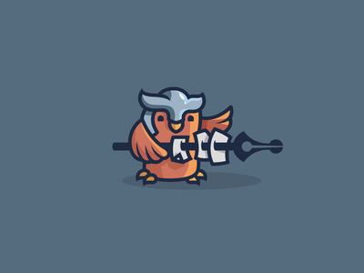 Owl mascot modern unused sale design illustration cartoon smart warrior document paper pen bird owl mascot character brand branding logotype logo