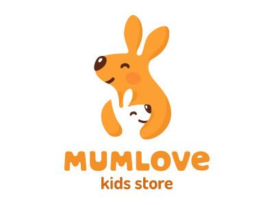 Mumlove illustration mascot cartoon character design flat logotype logo smile nice bright cute animal kid store child baby mother mum kangaroo